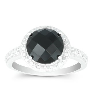 La Preciosa Sterling Silver Faceted Onyx Diamond Accent Circle Ring