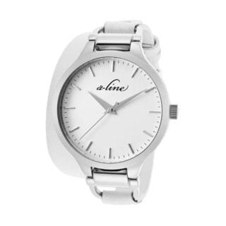 A Line Women's AL-80027-02-WHT Gemini White Leather Watch