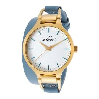 A Line Women's AL-80027-YG-02-TURAS Gemini Blue Leather Watch