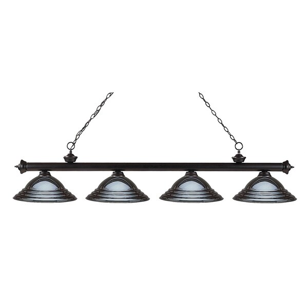 Z-Lite Riviera Bronze Stepped Gun Metal 4-light Billiard Fixture