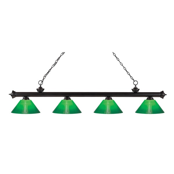 Z-Lite 4-light Riviera Bronze Green Cased Billiard Fixture