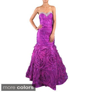 DFI Women's Mermaid Shirred Evening Gown