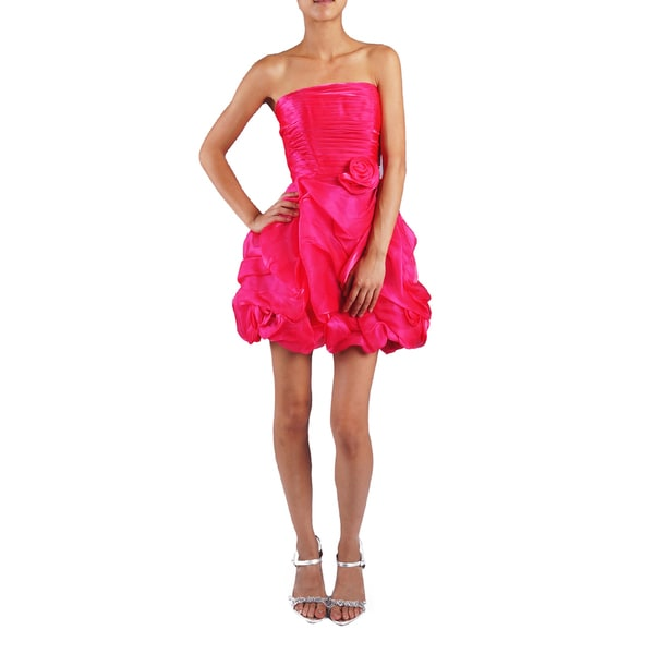 DFI Juniors Strapless Gathered-skirt Evening Dress