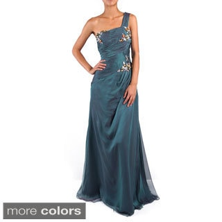 DFI Women's Single Strap Jeweled Evening Gown