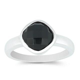 La Preciosa Sterling Silver Faceted Onyx Gemstone Ring