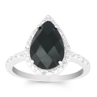 La Preciosa Sterling Silver Onyx and Diamond Accent Pear-cut Ring