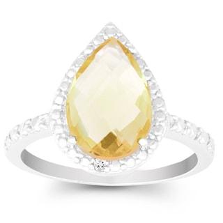 La Preciosa Sterling Silver Pear-cut Citrine Diamond Accent Ring
