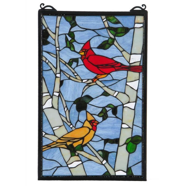 Cardinal Morning Stained Glass Window Panel 16728436