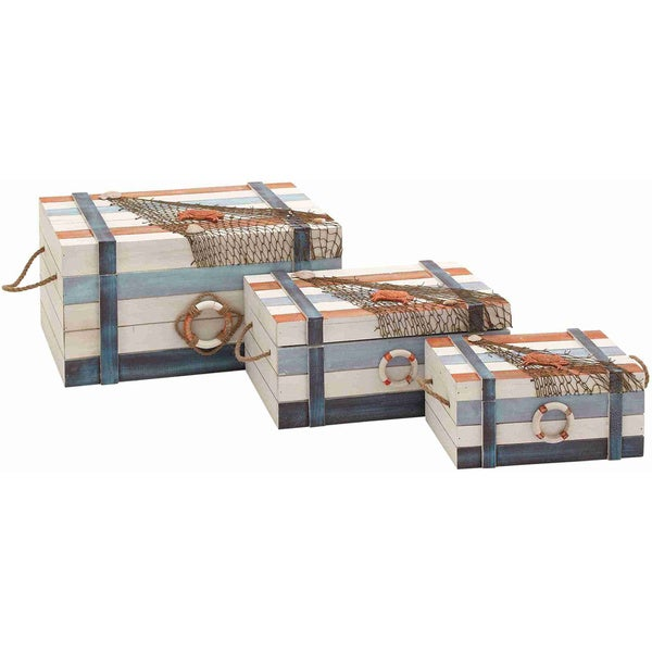 Wood Box with a Bright Orange Crab (Set of 3)