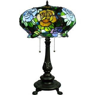 Tiffany-style Maxenne Roses Table Lamp