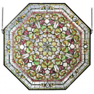Light Green Front Hall Floral Stained Glass Window Panel
