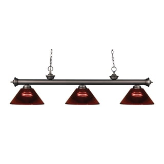 Z-lite 3-light Riviera Olde Bronze Burgundy Billiard Fixture