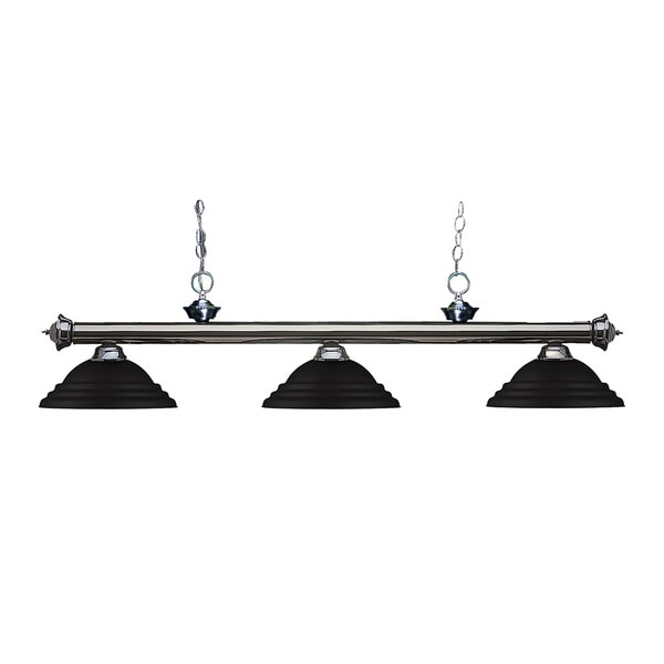 Z-lite 3-light Riviera Gun Metal Stepped Matte Black Billiard Fixture