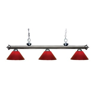 Z-lite 3-light Riviera Gun Metal Red Billiard Fixture