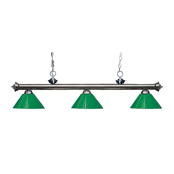 Z-lite 3-light Riviera Gun Metal Green Billiard Fixture