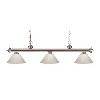 Z-lite 3-light Riviera Brushed Nickel White Billiard Fixture