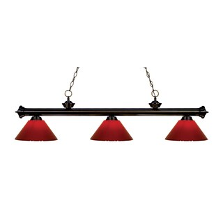 Z-lite 3-light Riviera Bronze Red Billiard Fixture
