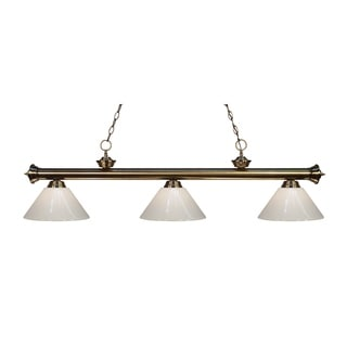 Z-lite 3-light Riviera Antique Brass White Billiard Fixture