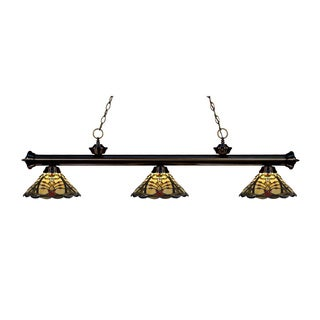 Z-lite Riviera Brozne and Tiffany Glass 3-light Billard Fixture