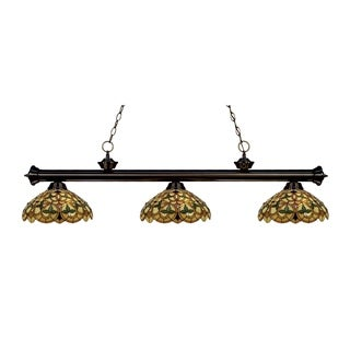Z-lite 3-light Riviera Bronze Multi Colored Tiffany-style Billiard Fixture