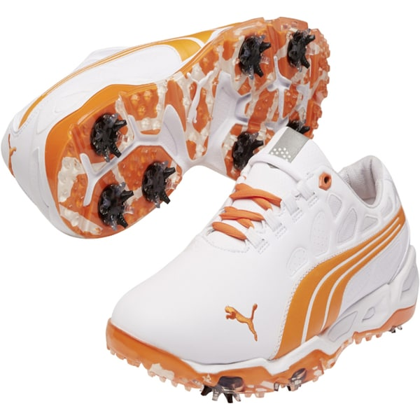 Puma Men's Biofusion White/ Vibrant Orange Golf Shoes