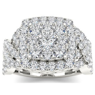 De Couer 14k White Gold 2ct TDW Diamond Luxurious Cluster Ring (H-I, I2)