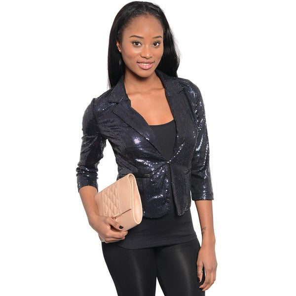 Shop The Trends Women Sequined Cropped Blazer