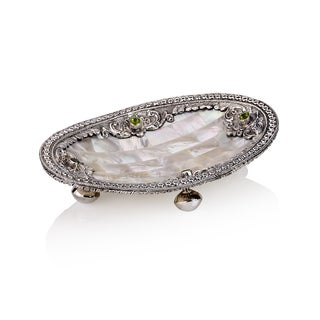 5.5-inch Neda Behnam Home Decor Mother of Pearl/ Sterling Silver and Peridot Oval Dish