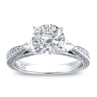 14k White Gold 1 4/5ct TDW Diamond Side Stone Engagement Ring (G-H, SI1-SI2)