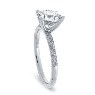 14k White Gold 7/8ct TDW Diamond Solitaire Pave Band Engagement Ring (G-H, SI1-SI2)