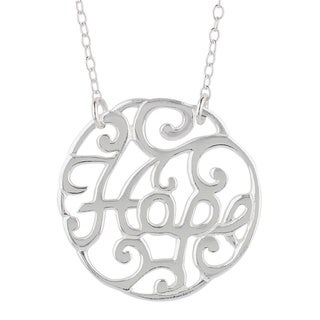 Sunstone Sterling Silver Filigree 'Hope' Monogram Sentiments Necklace