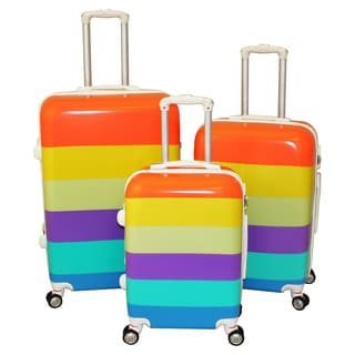 World Traveler Color Stripes 3-piece Hardside Spinner Luggage Set with TSA Lock