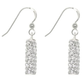 CGC Sterling Silver Crystal Glass Sparkling Rectangular Dangle Earrings