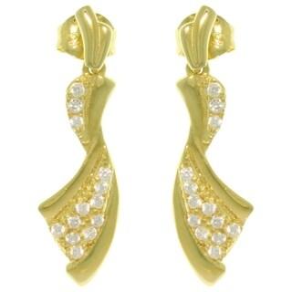 CGC Sterling Silver 14k Gold Vermeil Pave Cubic Zirconia Ribbon Dangle Earrings