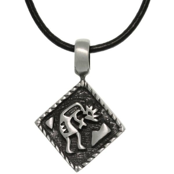 Pewter Diamond Shaped Kokopelli Southwestern Pendant on Black Leather Necklace 14196593