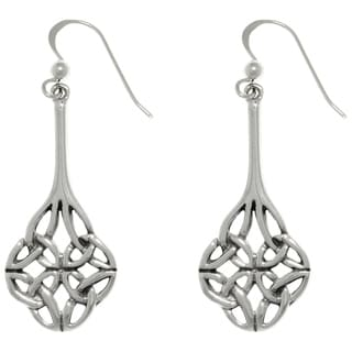 CGC Sterling Silver Four Sided Celtic Trinity Knot Long Dangle Earrings