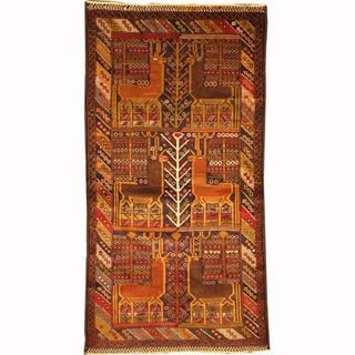 Herat Oriental Afghan Hand-knotted Tribal Balouchi Navy/ Gold Wool Rug (3'5 x 6'4)