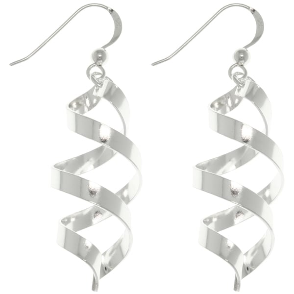 CGC Sterling Silver Spiral Ribbon Dangle Earrings