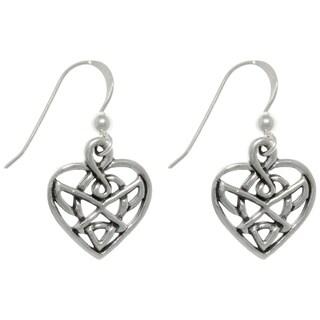 CGC Sterling Silver Celtic Infinity Heart Dangle Earrings