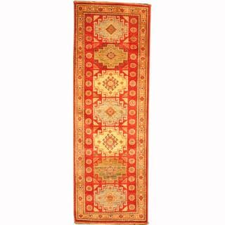 Herat Oriental Afghan Hand-knotted Tribal Balouchi Red/ Green Wool Rug (1'11 x 5'11)