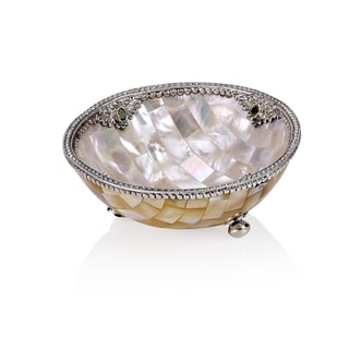 Neda Behnam Home Decor Mother of Pearl/ Sterling Silver and Genuine Peridot Bowl