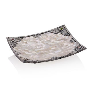 7-inch Neda Behnam Home Decor Mother of Pearl/ Sterling Silver and Gemstone Tray