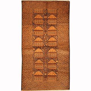 Herat Oriental Afghan Hand-knotted Tribal Balouchi Blue/ Salmon Wool Rug (3'6 x 6'7)