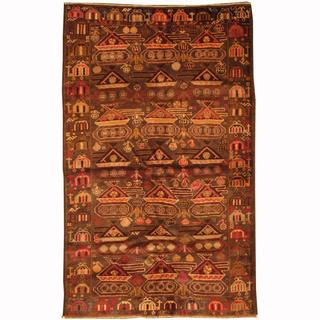 Herat Oriental Afghan Hand-knotted Tribal Balouchi Navy/ Ivory Wool Rug (3'11 x 6'4)