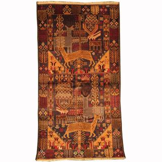 Herat Oriental Afghan Hand-knotted Tribal Balouchi Navy/ Gold Wool Rug (3'7 x 6'9)