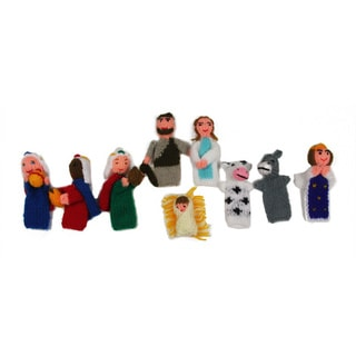 Nativity 3.5-inch Wool Blend 9-piece Finger Puppet Set (Peru)