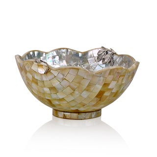 Neda Behnam Home Decor Handmade Sterling Silver Mother of Pearl Round Scallop Edge Bowl