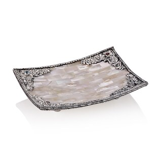 6-inch Neda Behnam Home Decor Sterling Silver Mother of Pearl/ Garnet and Blue Topaz Dish