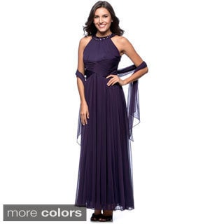 Alex Evenings Long Evening Beaded Halter Gown with Shawl