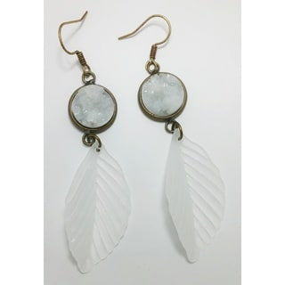 Pretty Little Style Brass White Acrylic Druzy and Feather Dangle Earrings